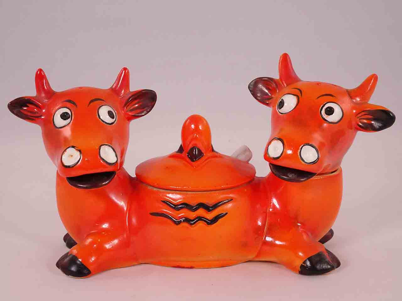Germany two-headed cow condiment salt and pepper shakers